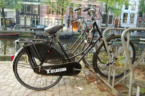 The new Limited Edition Atlassian Old Dutch bicycle seen on the canals of Amsterdam this week.