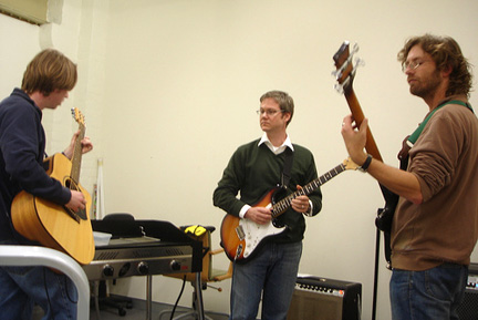 Matt Ryall, Soren Harner, and Jed Wesley-Smith playing